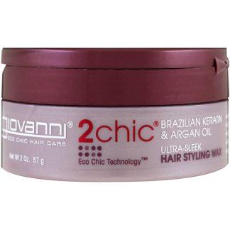 GIOVANNI, 2CHIC, ULTRA-SLEEK HAIR STYLING WAX, BRAZILIAN KERATIN & ARGAN OIL, 2 OZ / 57g