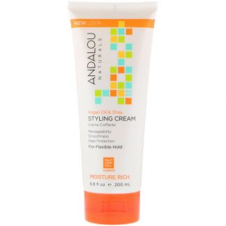 ANDALOU NATURALS, STYLING CREAM, ARGAN OIL AND SHEA, MOISTURE RICH, 6.8 FL OZ / 200ml