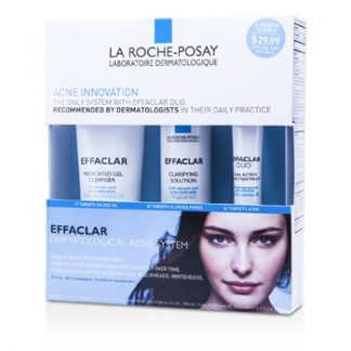 LA ROCHE POSAY EFFACLAR DERMATOLOGICAL ACNE SYSTEM: GEL CLEANSER 100ML + CLARIFYING SOLUTION 100ML + ACNE TREAMENT 20ML 3PCS