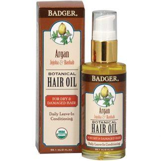 BADGER COMPANY, ARGAN BOTANICAL HAIR OIL, JOJOBA & BAOBAB, 2 FL OZ / 59.1ml