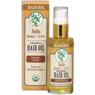 BADGER COMPANY, JOJOBA HERBAL HAIR OIL, ROSEMARY & TEA TREE, 2 FL OZ / 59.1ml