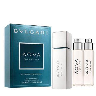 BVLGARI AQVA POUR HOMME THE REFILLABLE TRAVEL SPRAY GIFT SET FOR MEN