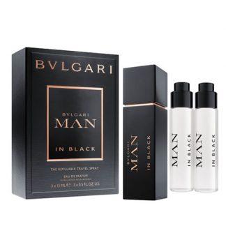 BVLGARI MAN IN BLACK THE REFILLABLE TRAVEL SPRAY GIFT SET FOR MEN